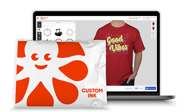 The Custom Ink Design Lab displayed on a laptop with a shipping bag to show that orders can be shipped directly to your group members.