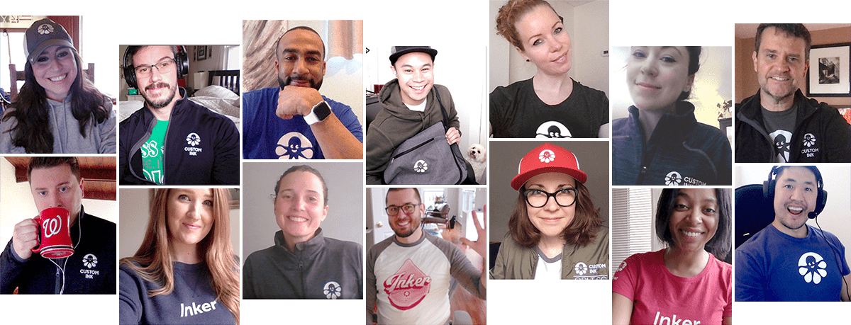 A group of Custom Ink employees all on a video chat wearing their branded custom apparel