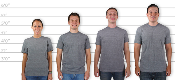 Customink Sizing Line Up For American Arel Usa Made Tri Blend T Shirt Standard Sizes