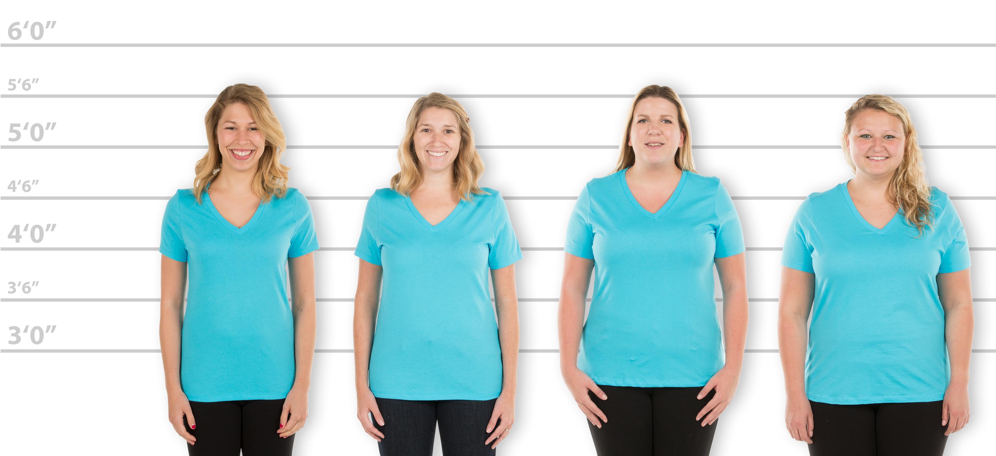 Customink Sizing Line Up For Bella Womens V Neck T Shirt