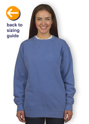 Customink Sizing Line Up For Comfort Colors Crewneck Sweatshirt Standard Sizes