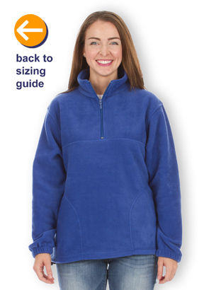 CustomInk.com Sizing Line-Up for Harriton 1/4-Zip Fleece Pullover ...
