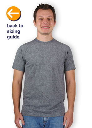 aa147d33d CustomInk Sizing Line-Up for American Apparel USA-Made Tri-Blend T-shirt - Standard  Sizes