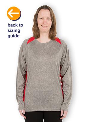 ee746657 CustomInk.com Sizing Line-Up for Sport-Tek Long Sleeve Heather Colorblock  Performance Shirt - Standard Sizes
