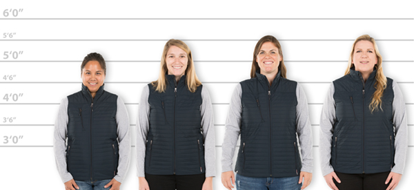 7b8bec46f6b CustomInk.com Sizing Line-Up for Storm Creek Women s Quilted Thermolite®  Vest - Standard Sizes