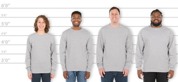 0cb45d39 CustomInk.com Sizing Line-Up for Hanes ComfortSoft® Tagless Long Sleeve  Pocket T-shirt - Standard Sizes