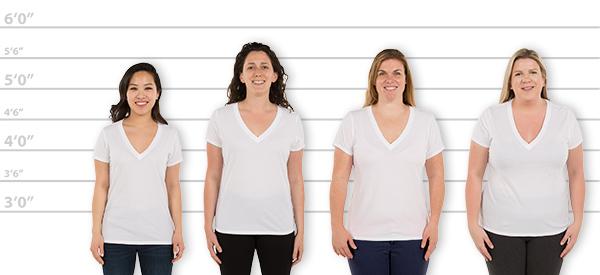 82f851bfb210 CustomInk.com Sizing Line-Up for GAP Women's Vintage Wash V-Neck Tee - Standard  Sizes