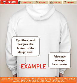 An example of how to add a design to the hood of a product.
